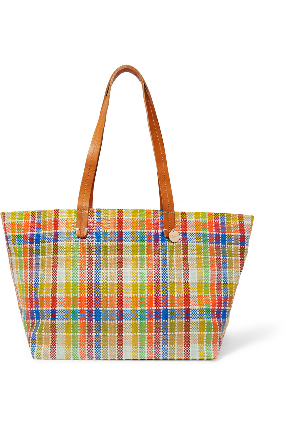 Clare V Suki Leather-Trimmed Plaid Raffia-Effect Tote, Yellow/Orange, Women's