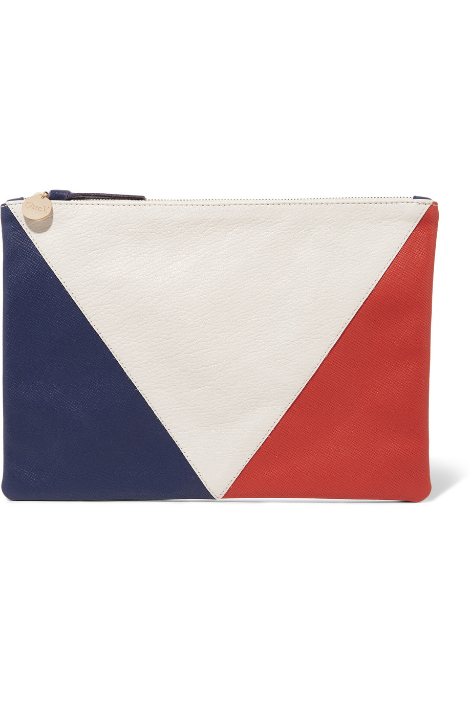 Clare V Supreme Color-Block Textured-Leather Clutch, White/Blue, Women's