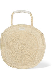 Alice Maison leather-trimmed woven sisal shoulder bag