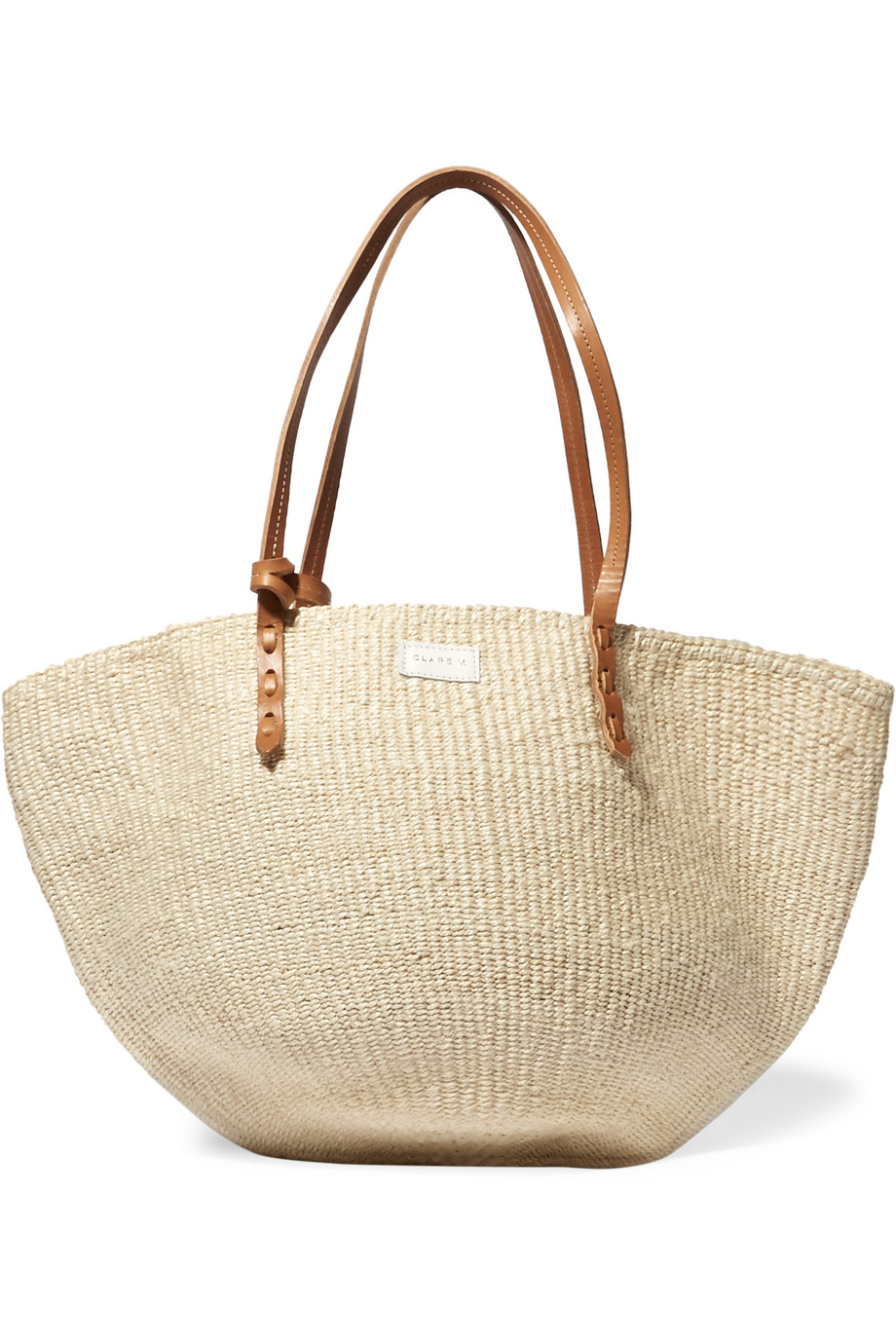 Clare V Kenya Maison Leather-Trimmed Sisal Tote, Cream, Women's