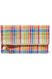 Plaid fold-over woven canvas clutch