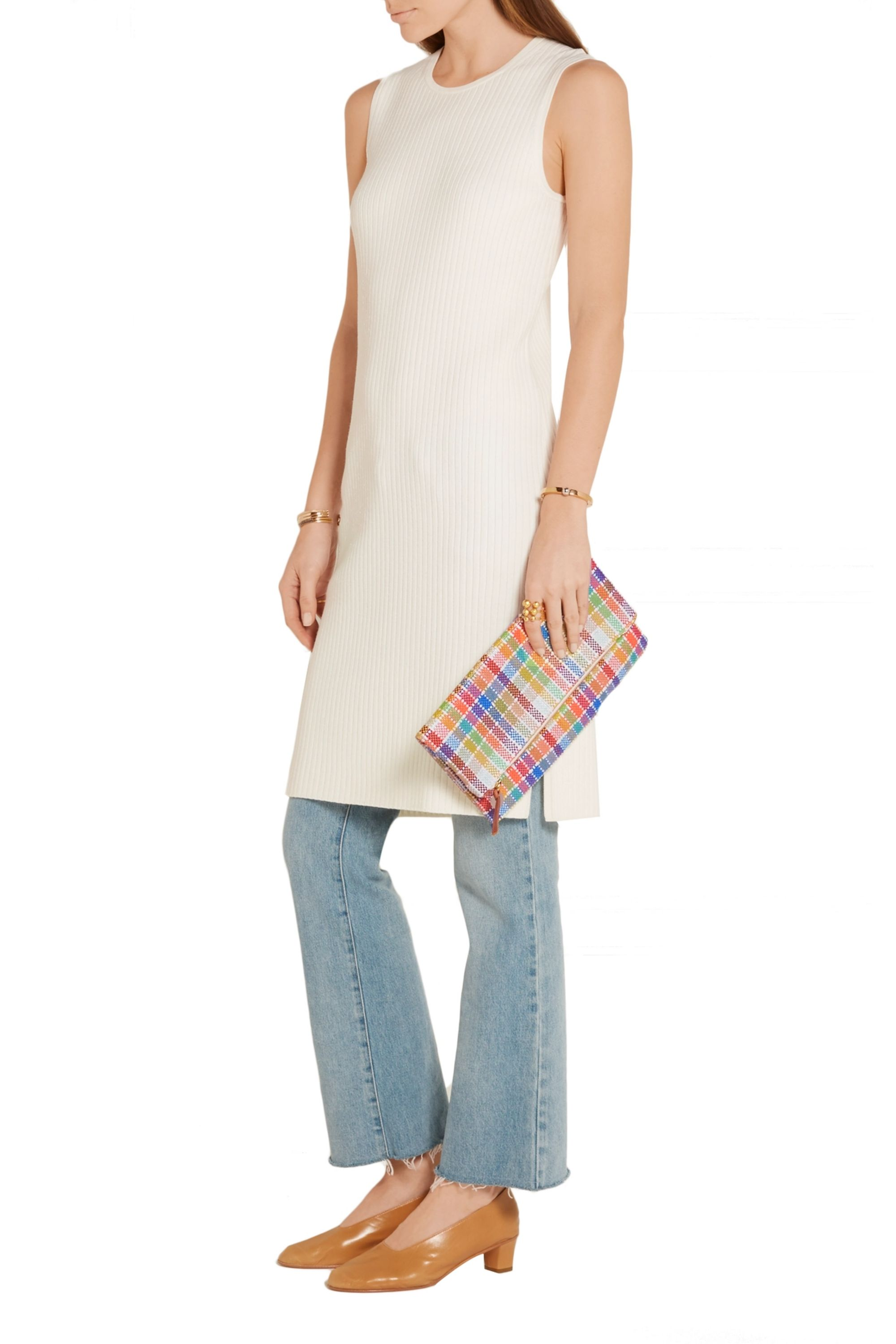 Clare V. Plaid fold-over woven canvas clutch