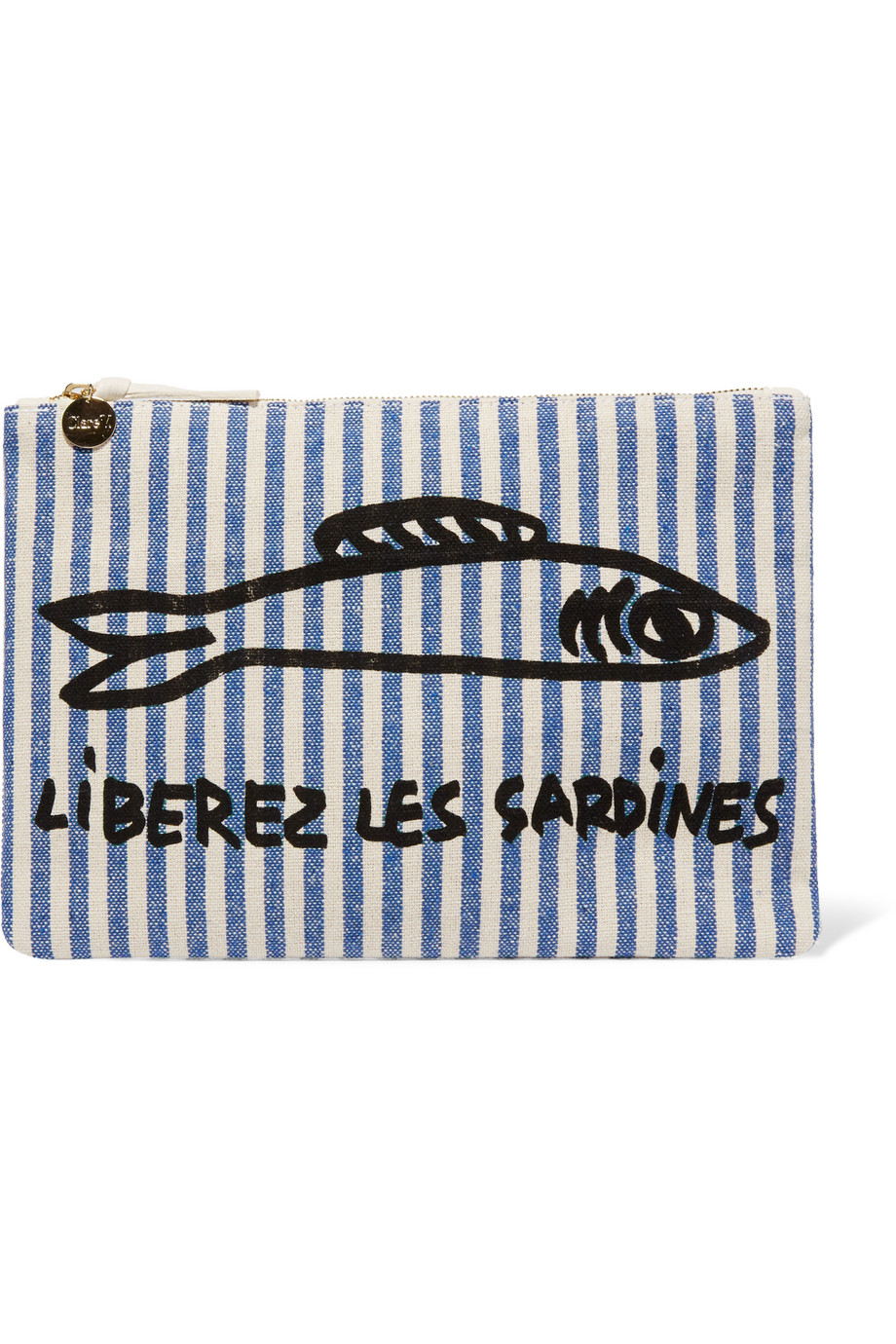 Clare V Printed Canvas Clutch, Blue, Women's