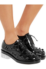 Simone Rocha Embellished glossed-leather brogues