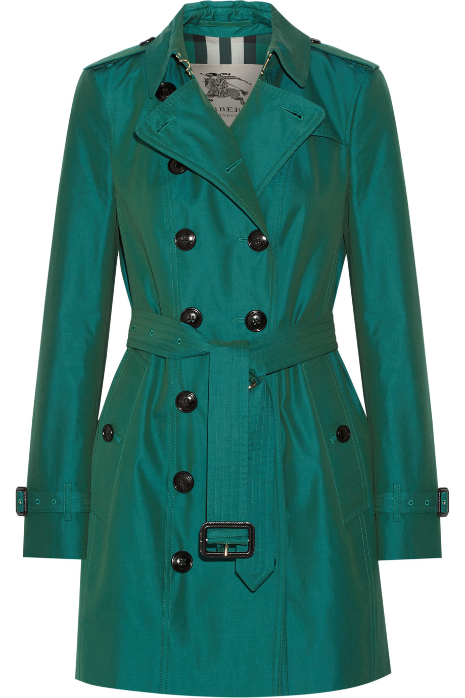 Burberry London The Sandringham Mid Cotton-Gabardine Trench Coat, Emerald, Women's, Size: 36