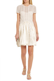 Burberry Prorsum Macramé lace and silk mini dress
