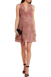 Burberry Prorsum Embroidered honeycomb-mesh mini dress