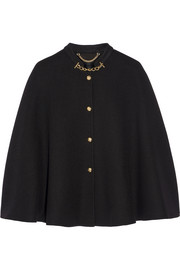 Chain-trimmed cashmere cape