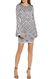 Hervé Léger Skyler cutout stretch jacquard-knit mini dress