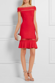Hervé Léger Cutout off-the-shoulder bandage mini dress