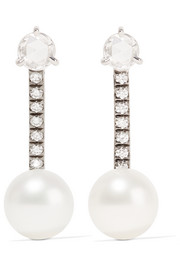 18-karat white gold, diamond and pearl earrings