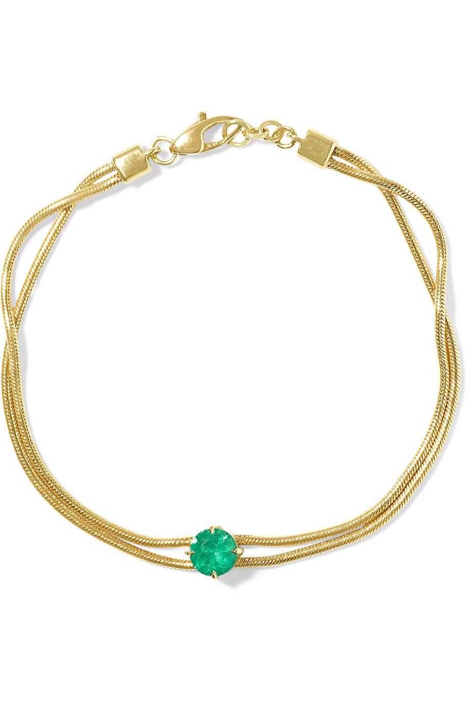 Jemma Wynne Revival 18-Karat Gold Emerald Bracelet, Emerald/Gold, Women's