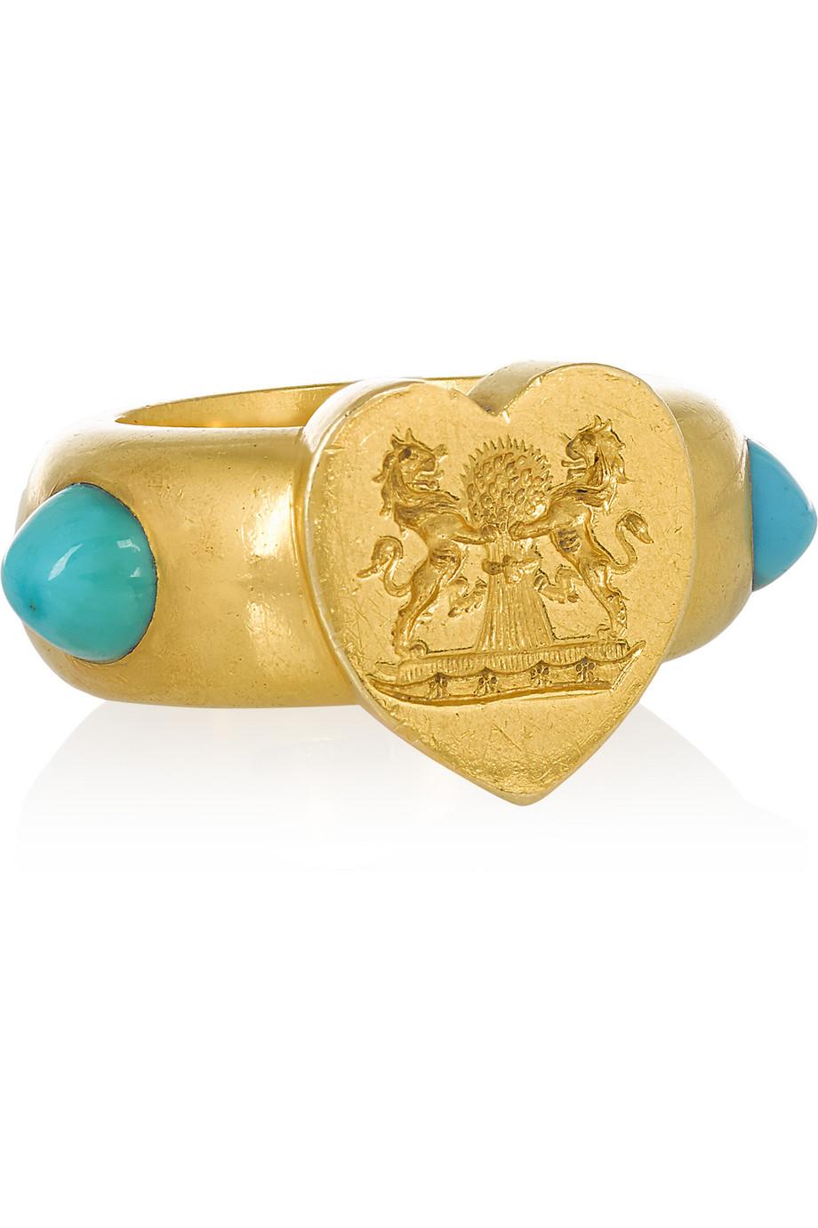 Fred Leighton 1877 18-Karat Gold Turquoise Signet Ring, Gold/Turquoise, Women's