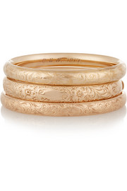 1910s set of three embossed 14-karat gold bangles