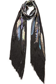 Fringed feather-print silk crepe de chine scarf