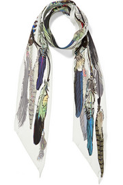 Feather-print silk crepe de chine scarf
