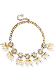 Future Shock gold-plated, faux pearl and Swarovski crystal necklace