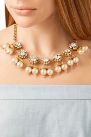 Erickson Beamon Future Shock gold-plated, faux pearl and Swarovski crystal necklace