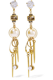 Gold-plated, Swarovski crystal and faux pearl earrings