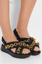 Burberry Prorsum Chain-embellished canvas and satin sandals