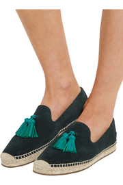 Burberry London London tasseled leather and suede espadrilles