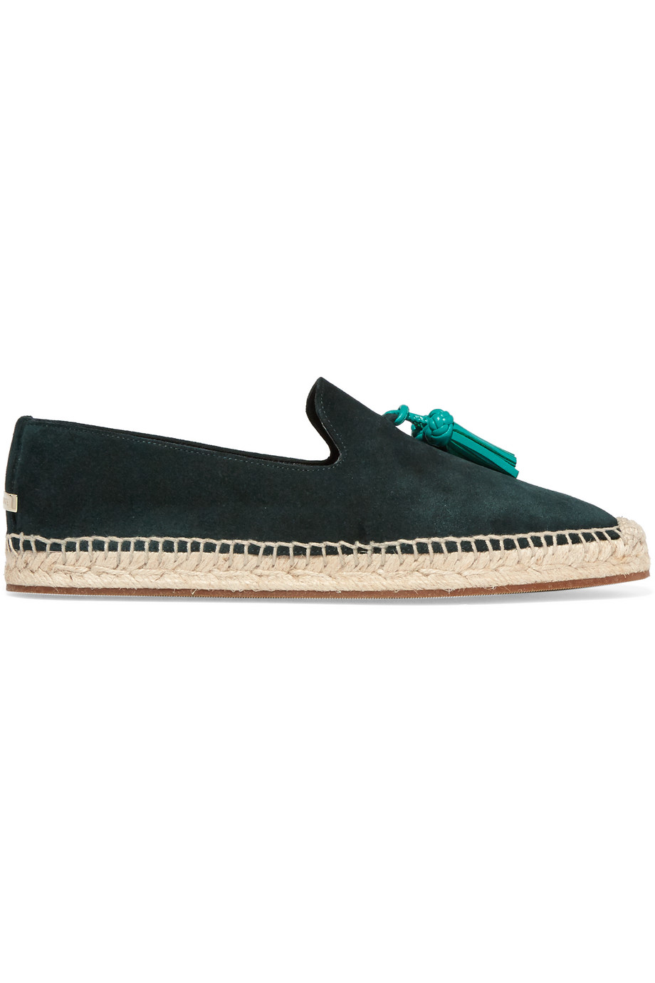 Burberry London London Tasseled Leather and Suede Espadrilles, Dark Green, Women's US Size: 4.5, Size: 35