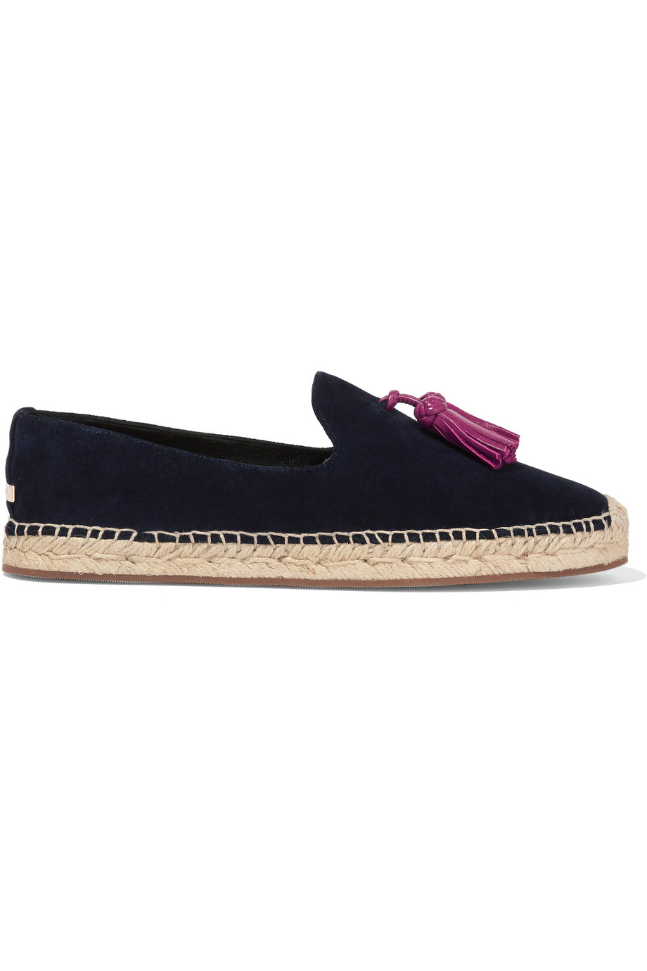 Burberry London London Tasseled Leather and Suede Espadrilles, Navy, Women's US Size: 4.5, Size: 35