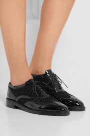 Burberry London London patent-leather and lace brogues