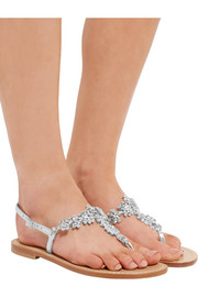 Crystal-embellished metallic leather sandals