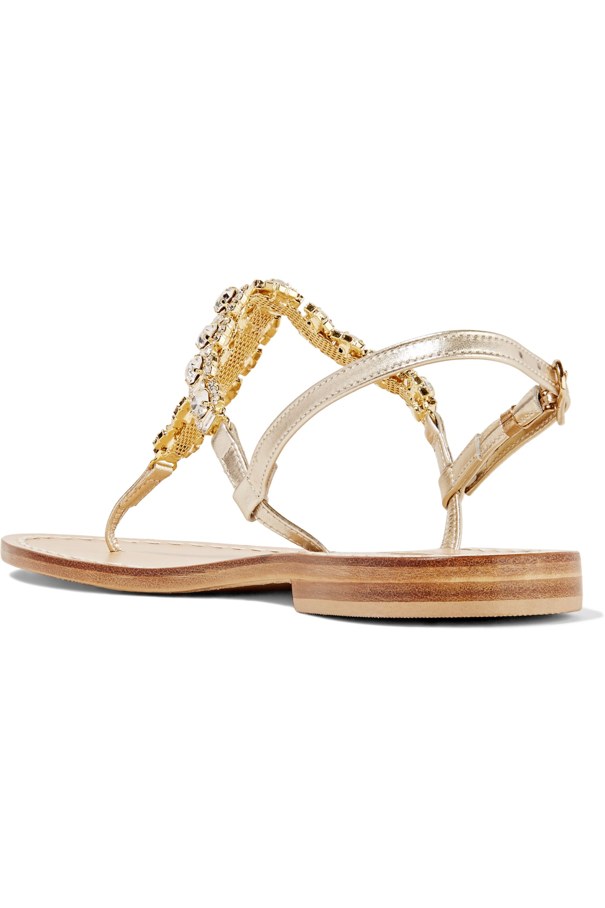 Musa Crystal-embellished metallic leather sandals