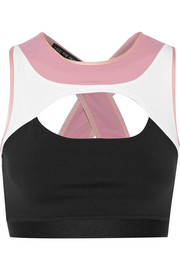 Contour color-block cutout stretch-Supplex® sports bra