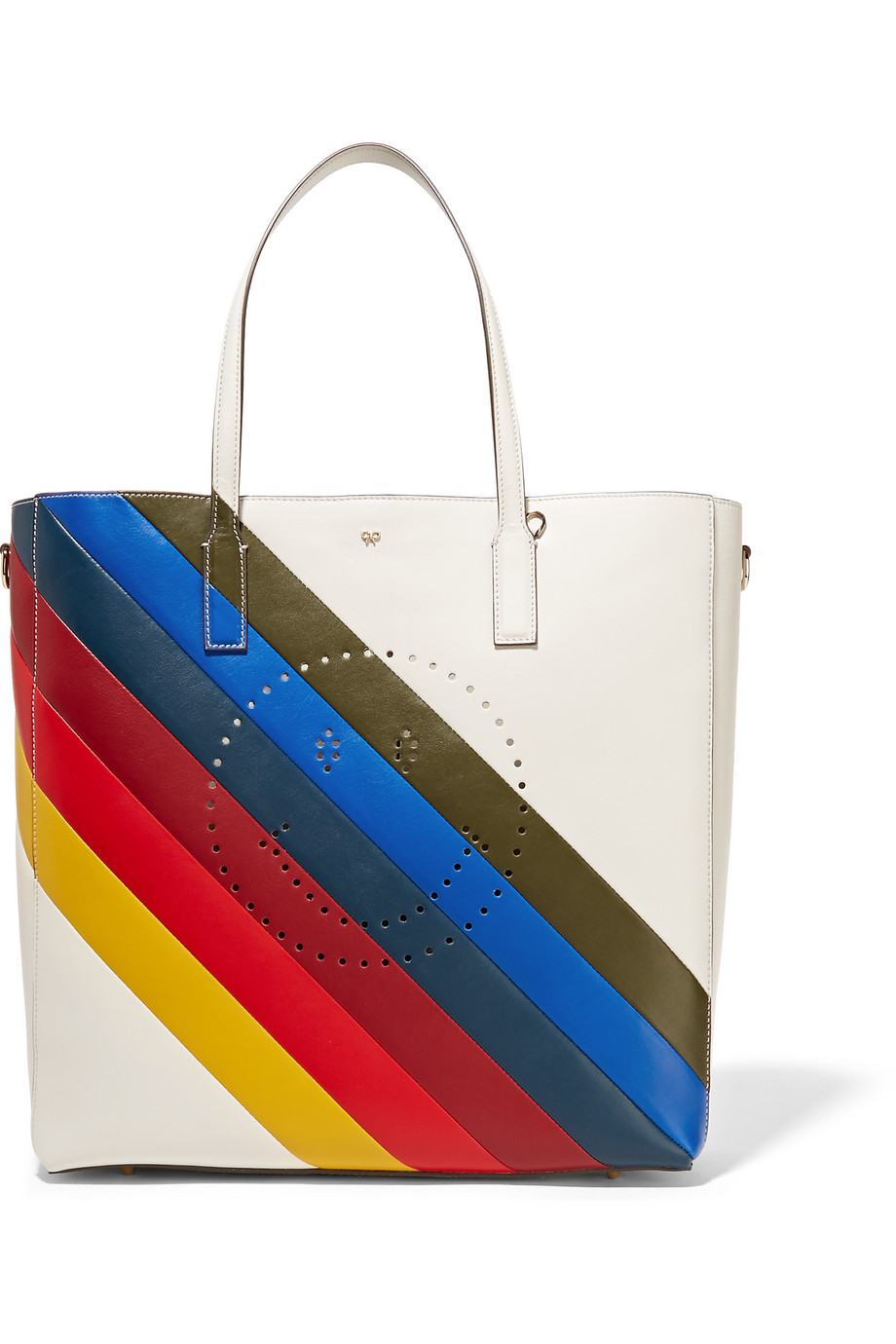 Anya Hindmarch Ebury Smiley Perforated Leather Tote, Ivory/Blue, Women's