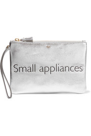 Small Appliances metallic textured-leather pouch