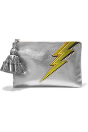 Georgina metallic textured-leather clutch
