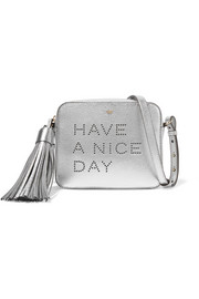 Anya Hindmarch Have A Nice Day perforated metallic textured-leather shoulder bag