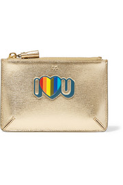 I Love You small metallic textured-leather pouch