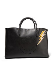 Lightening Bolt metallic textured-leather sticker