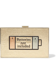 Imperial Batteries Not Included metallic textured-leather clutch