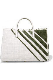 Ebury Maxi striped woven leather tote