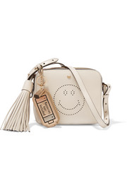 Anya Hindmarch Batteries Not Included metallic textured-leather keychain