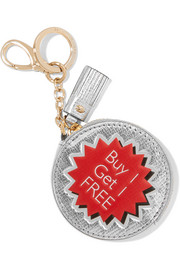 Anya Hindmarch Buy 1 Get 1 Free metallic textured-leather keychain
