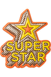 Super Star metallic textured-leather sticker