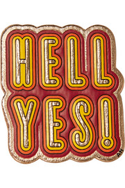 Anya Hindmarch Hell Yes! metallic textured-leather sticker