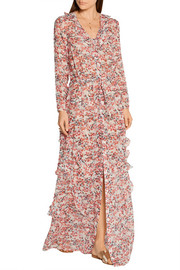 Izzie printed silk-georgette maxi dress