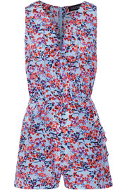 Sadie printed silk crepe de chine playsuit