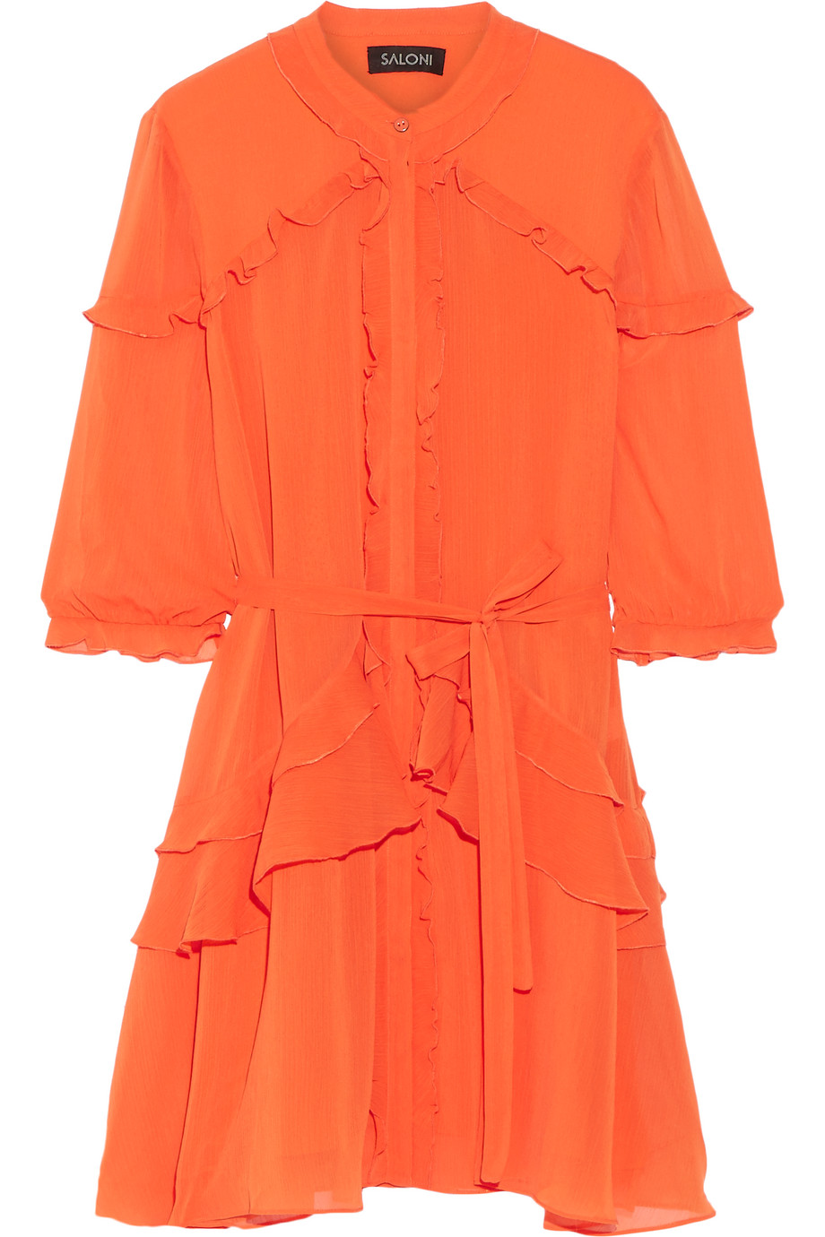Saloni Tilly Ruffled Georgette Mini Dress, Bright Orange, Women's, Size: 6