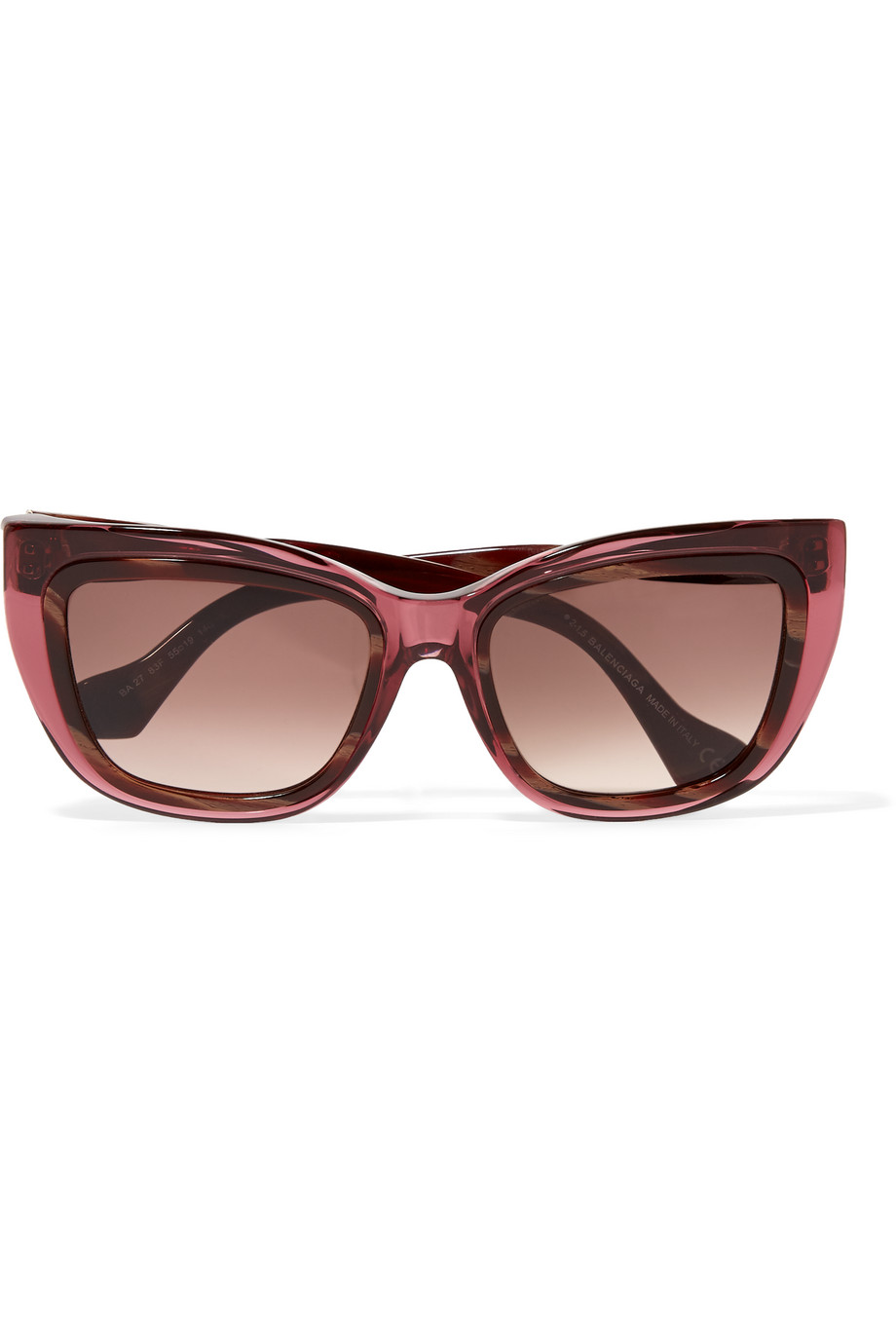Balenciaga Square-Frame Acetate and Enamel Sunglasses, Burgundy, Women's, Size: One size