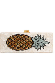 Flavia Pineapple glittered acrylic box clutch