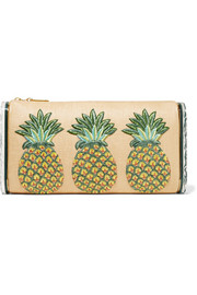 Jumbo Lara Pineapple embroidered raffia and acrylic box clutch
