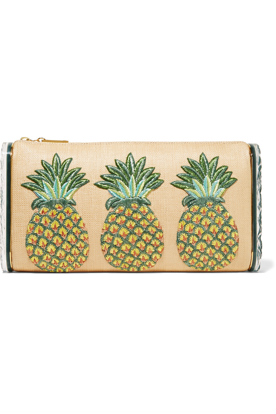 Edie Parker Jumbo Lara Pineapple Embroidered Raffia and Acrylic Box Clutch, Beige, Women's
